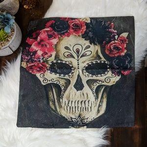 Dios de Los Muertos Skull Throw Pillow Cover
